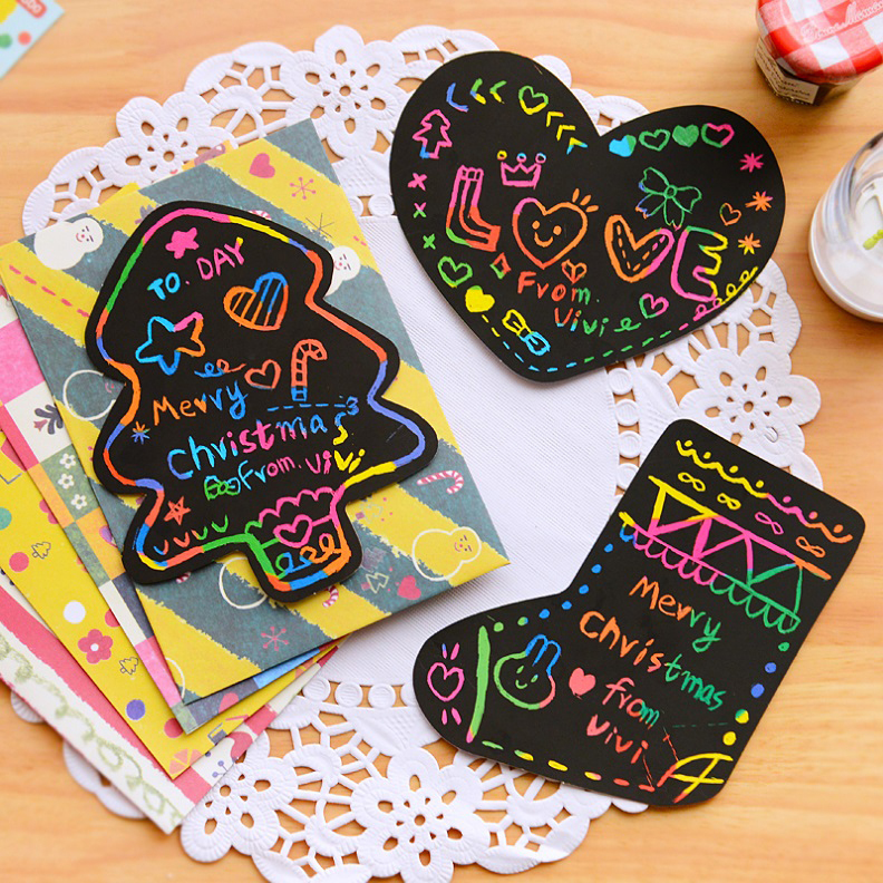 2 cards set 8sets of cute scratch art christmas card with for Cute creative christmas cards