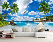 beibehang Custom fashion stereo wallpaper coconut tree shell beach seagull dolphin landscape background wall papers home decor