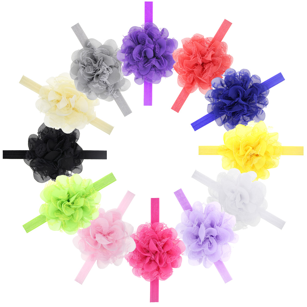 1pcs Baby Headband Infant Chiffon mesh Flower Headbands hair band Photography props