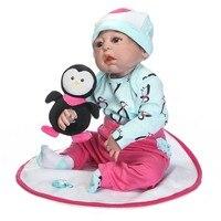 NPK 22 Inch Lifelike Reborn Newborn Doll Set Silicone Baby Dolls Kit for Kids Playmat Toy Gift AN88