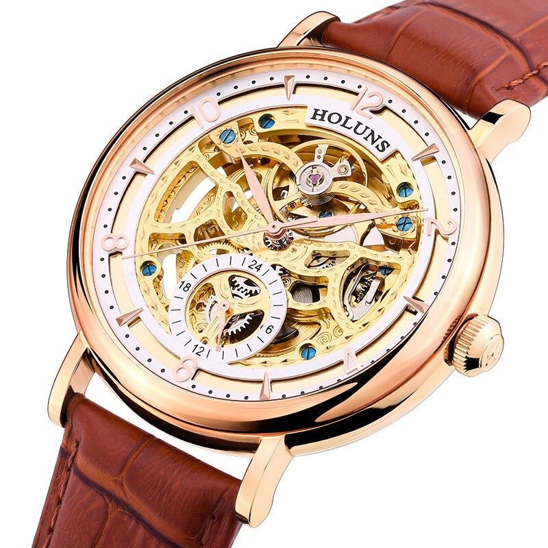 Original New HOLUNS Men Automatic Mechanical Sapphire Hollow Watches Casual Waterproof Mens Wristwatch Relojes relogio masculino