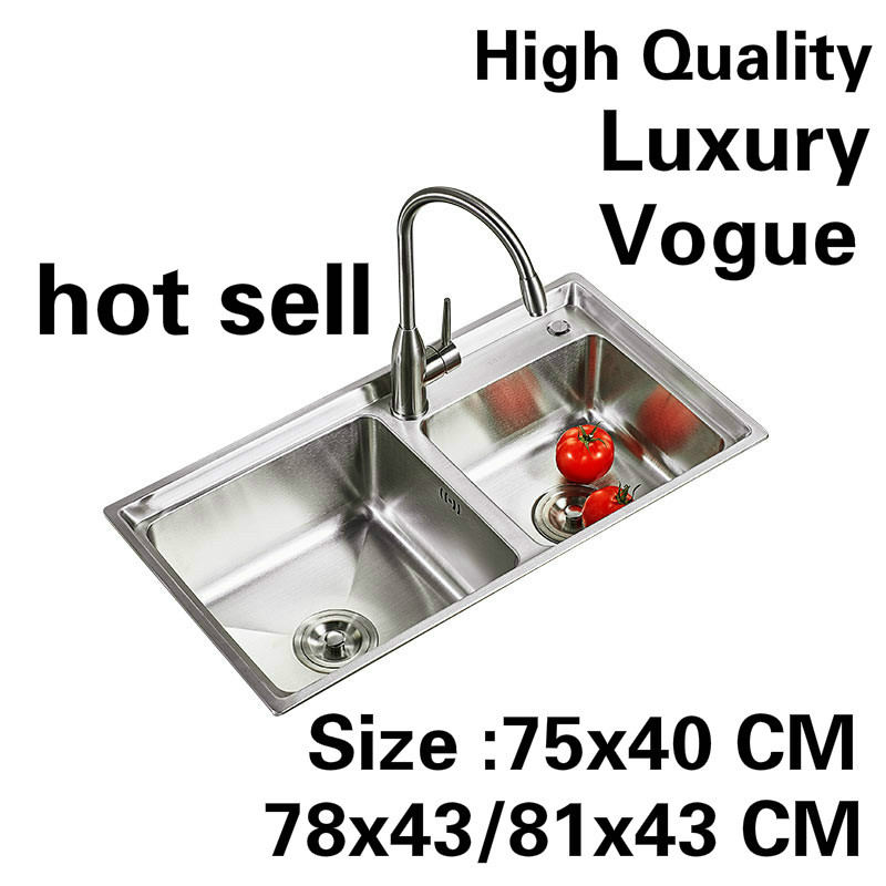 Free shipping Apartment luxury kitchen double groove sink do the dishes 304 stainless steel hot sell 750x400/780x450/810x430 MMFree shipping Apartment luxury kitchen double groove sink do the dishes 304 stainless steel hot sell 750x400/780x450/810x430 MM