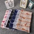 Nota de la música Cat imprimir bufanda mujeres bufanda larga nuevo estilo moda bufandas del resorte largo chal de seda de Pashmina pañuelos de gasa