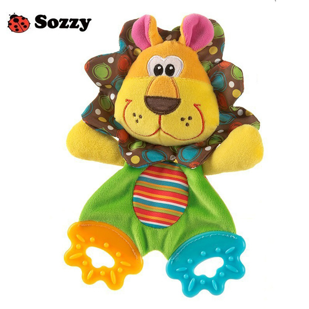 SOZZY Baby Teether Towel Infant Plush Comfort Sound Paper Soft Appease Stuffed Toy Lovely Cartoon Animal Shape Teethers цена