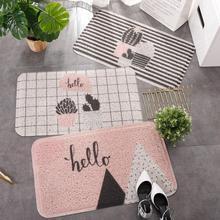 цена на Nordic style ins Entrance hall carpet PVC wire loop mat Pink prickly pear Door mat Living room floor mat bathroom non-slip rug