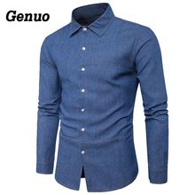 Genuo Shirt Men Casual Business Long Sleeve Cotton Fashion Camisas Streetwear High Quality Males Social Clothes 2018