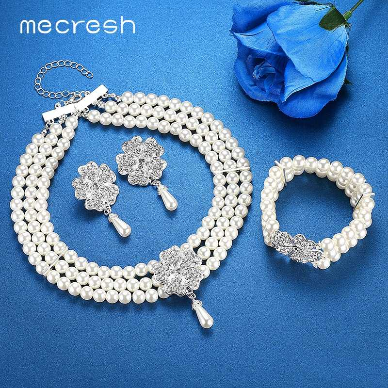 Mecresh Round Imitated Pearl Dubai Bridal Jewelry Sets Statement Wedding Bracelet Earrings Necklace Sets Party Accessories TL371