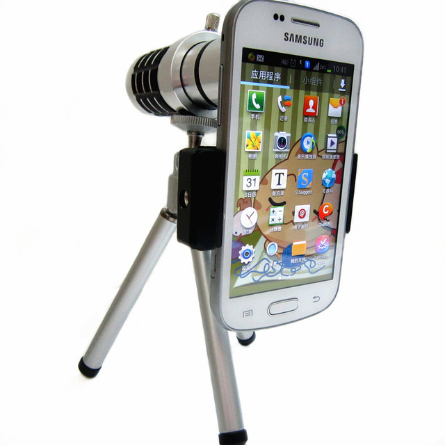 Orbmart Aluminum Universal 12X Zoom Telescope Camera Mobile Phone Lens + Mini Tripod + Adjustable Clip For Samsung iPhone Lenovo