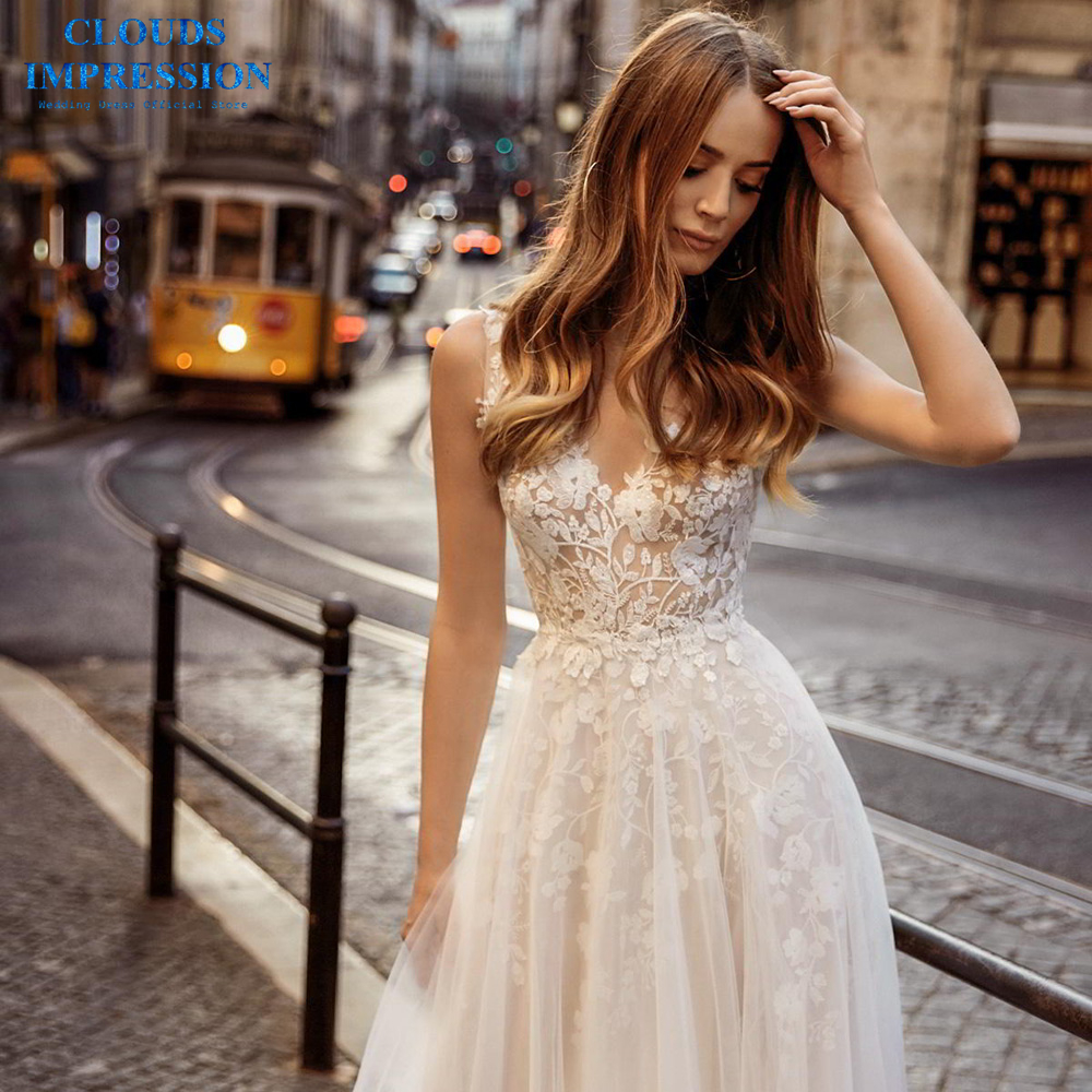 CLOUDS IMPRESSION Lace 2019 Beach BOHO Wedding Dress A Line Sexy Vestige De Noiva Sweep Train White Bridal Gown
