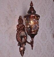 Стекло настенный светильник бра небольшой прикроватный свет огни Бар Средиземноморский Стиль Спальня Кристалл Европейский ретро свет Тво