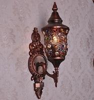 Glass Wall Lamp Sconces Small Bedside Light Lights Bar Mediterranean Style Bedroom Crystal European Retro Light Creative Iron