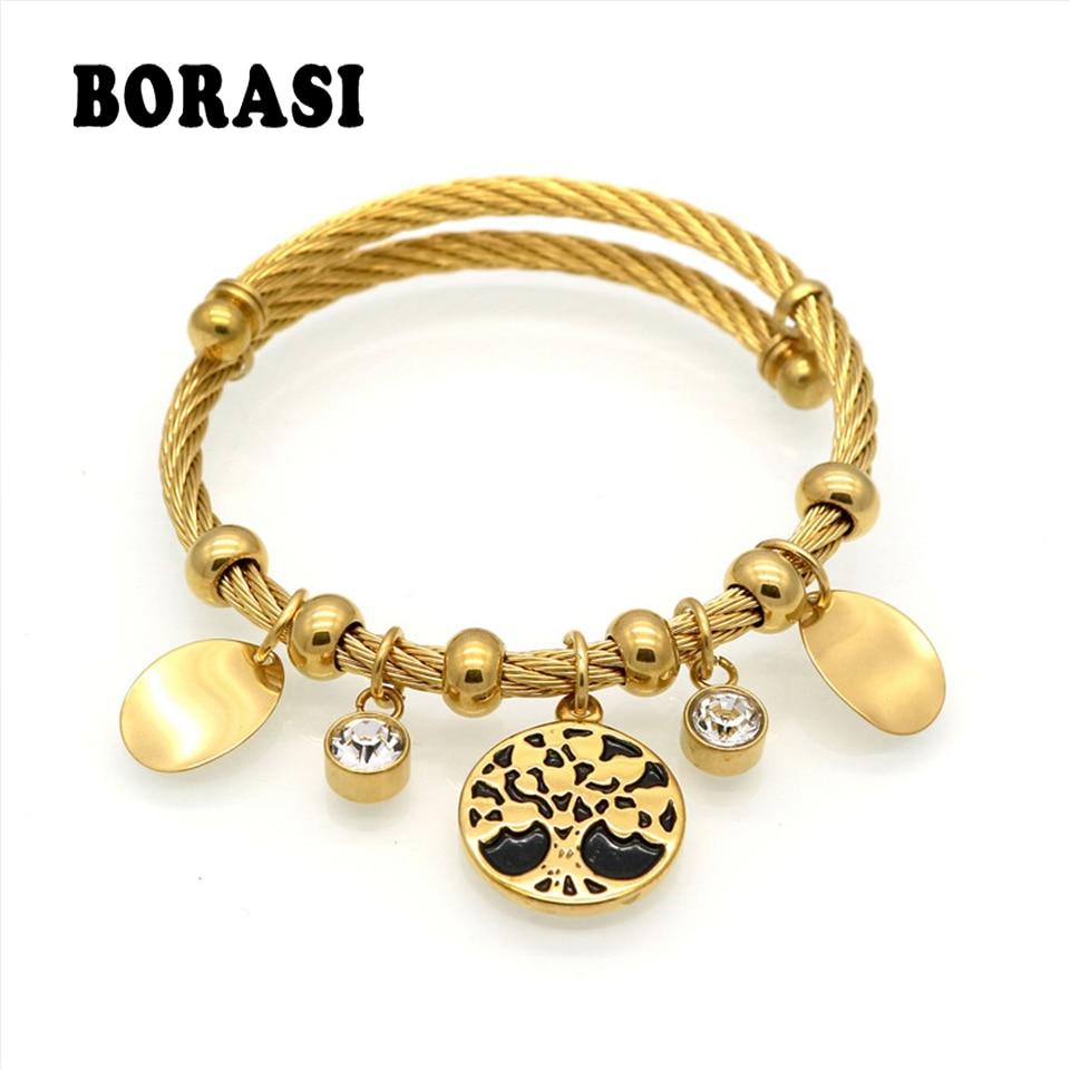 Life Tree Bracelet Charm Tree Resin cabochon Crystal Bracelet Gold Color Female Bracelets & Bangles Fashion Women Jewelry цена
