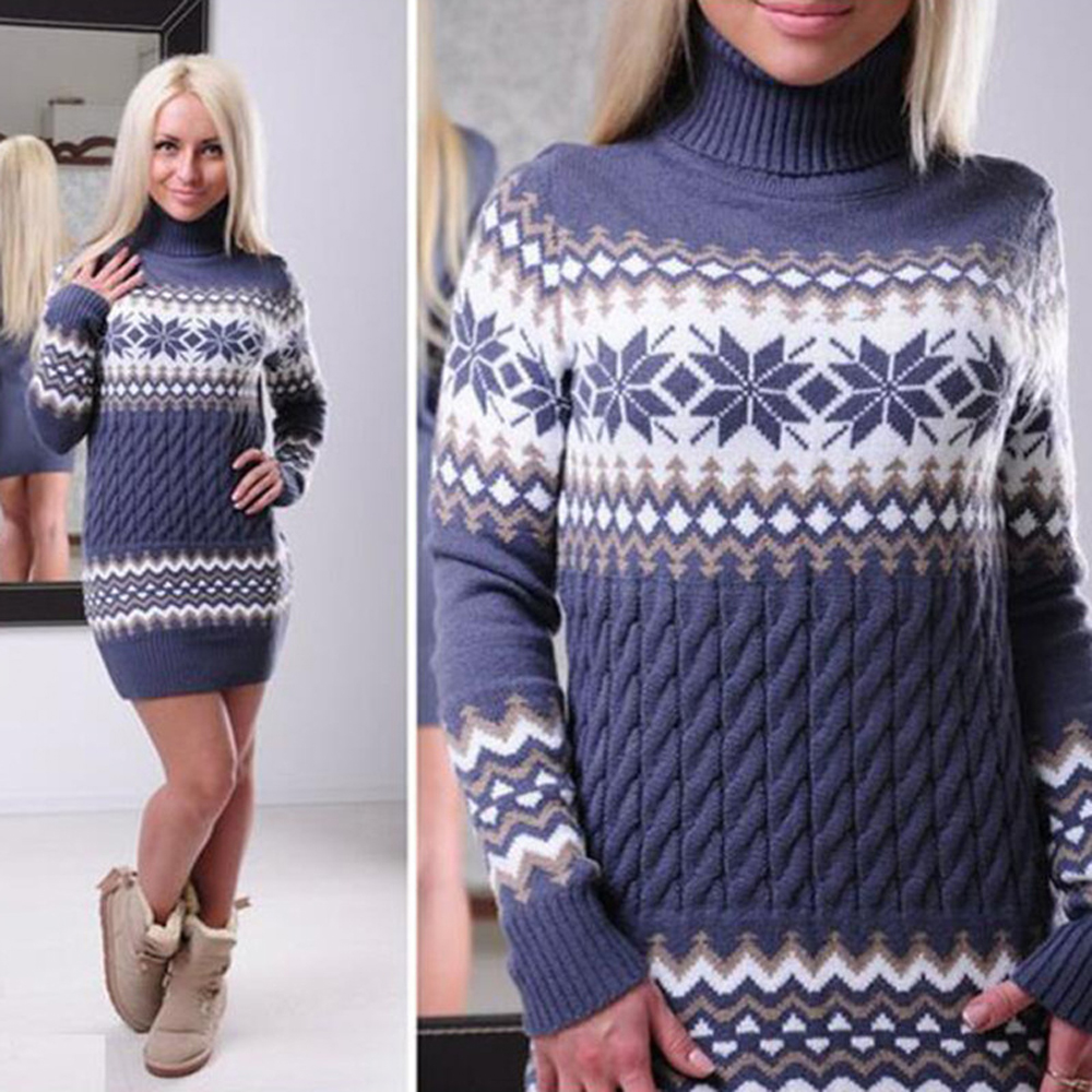 5fa73f5ef94 Detail Feedback Questions about Women Sweater Printed Dress Autumn Winter  Warm Christmas Party Vestidos Long Sleeve Turtleneck Mini Knitted Dress  WDC1548 on ...
