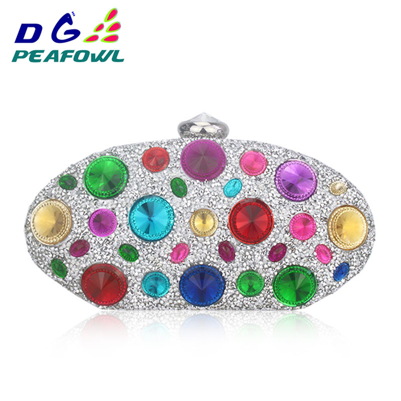 Round Colorful Diamond Big Crystal Femme Messenger Box Day Clutch Bag  Interior Slot Pocket Hardware Wallet Waterproof BagRound Colorful Diamond Big Crystal Femme Messenger Box Day Clutch Bag  Interior Slot Pocket Hardware Wallet Waterproof Bag