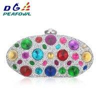 Round Colorful Diamond Big Crystal Femme Messenger Box Day Clutch Bag Interior Slot Pocket Hardware Wallet Waterproof Bag