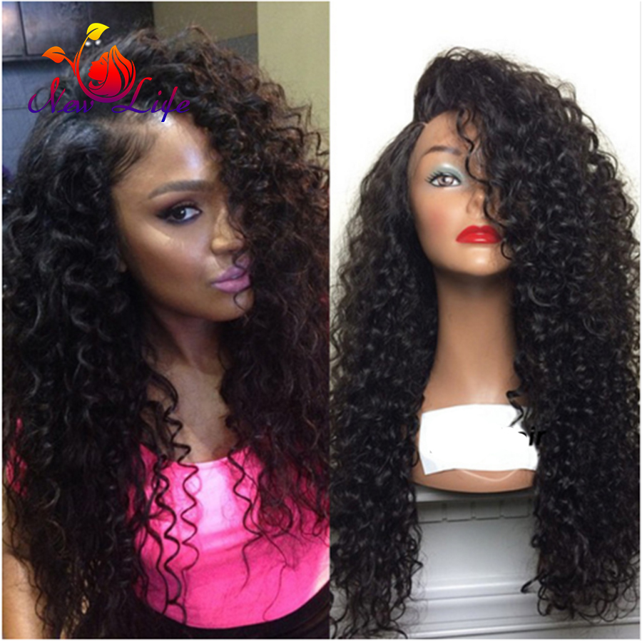 Long Curly Hair Wigs Natural Black Deep Curl Synthetic Lace Front