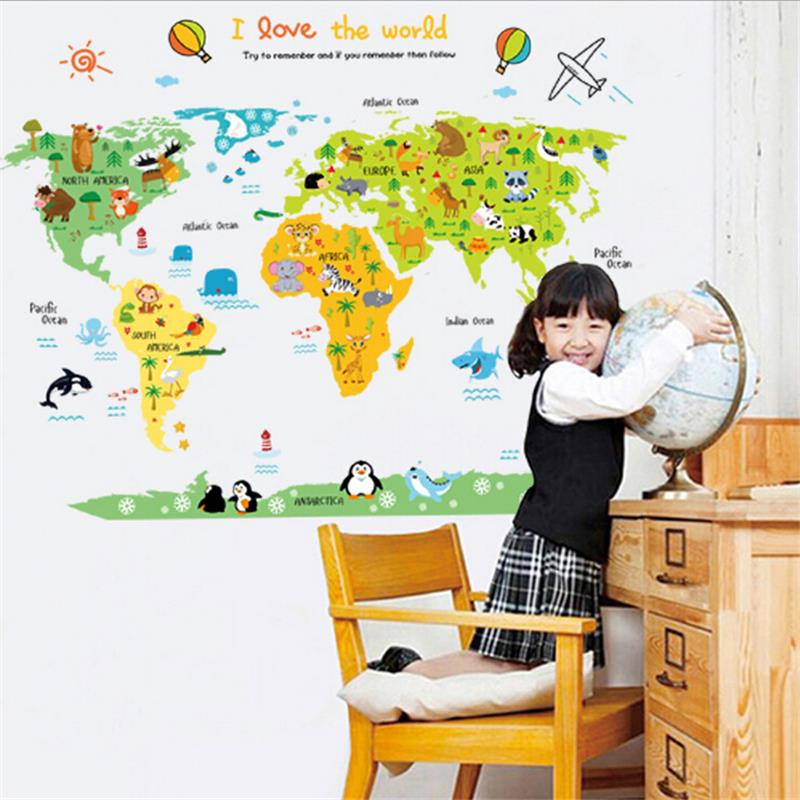 Diy World Map Wall Sticker Vinyl Wall Stickers For Kids Rooms Home Decor Bathroom Sofa Wall Decals Adesivo De Parede Hot Sale