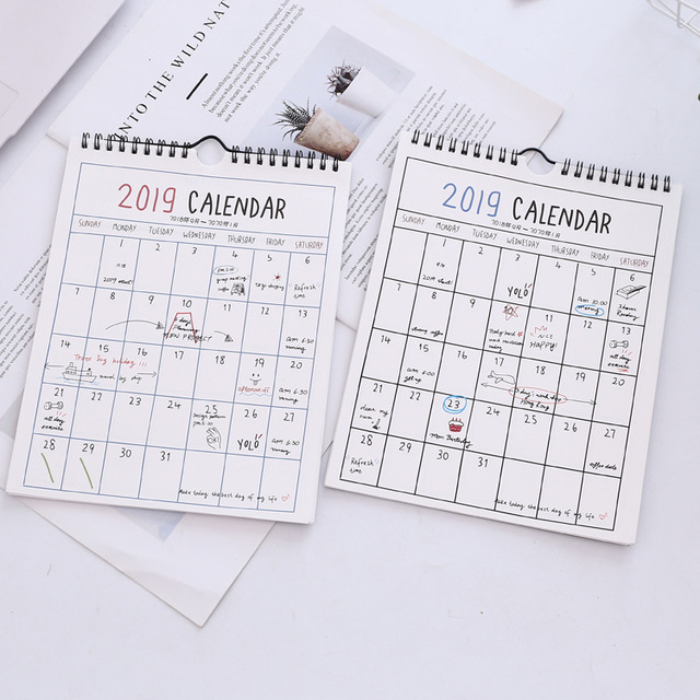 2019 Calendar Simple Wall Calendar Agenda Organizer Pink Cartoon