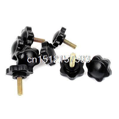8PCS Star Hardware Clamping Knob M5 x 16mm x 25mm Black