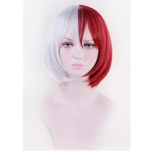 Image 2 - Anime Boku no Hero Academia Todoroki Shoto Cosplay Costume Wig My Hero Academia Men Women Synthetic Hair Wigs + Wig Cap