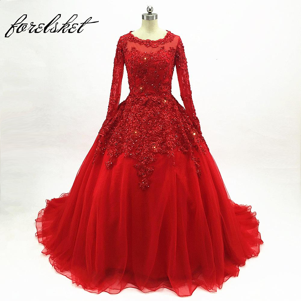 Beading Appliques Prom Dresses Ball Gown 2020 Red Long Sleeves Dubai Arabic Sequin Formal Evening Party Gown Vestido De 15 Years