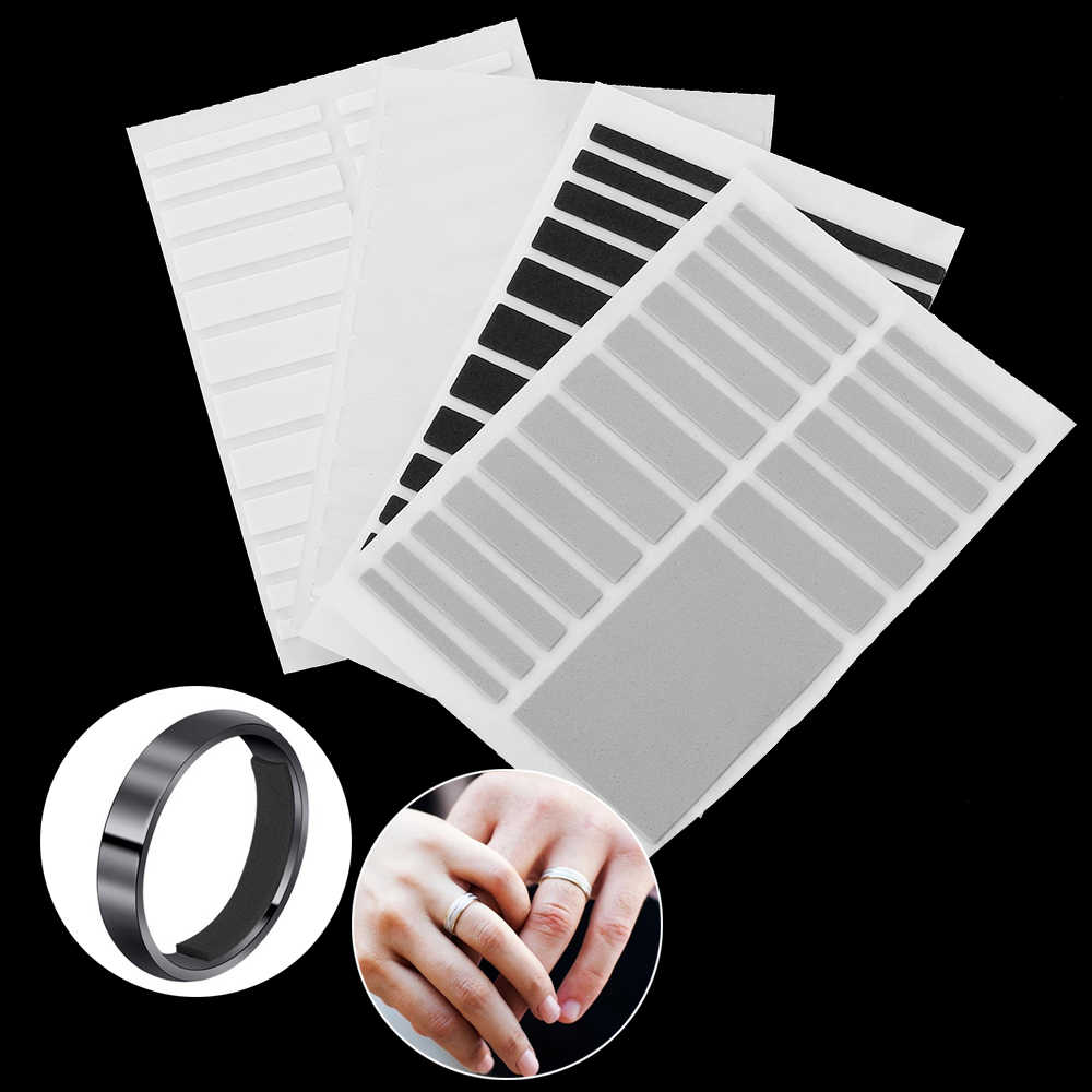 4 Colors 19 Pcs Per Sheet Ring Size Adjuster Set Invisible Ring Inner Ring Sticker Size Adjustment Pad for Loose Rings Jewelry