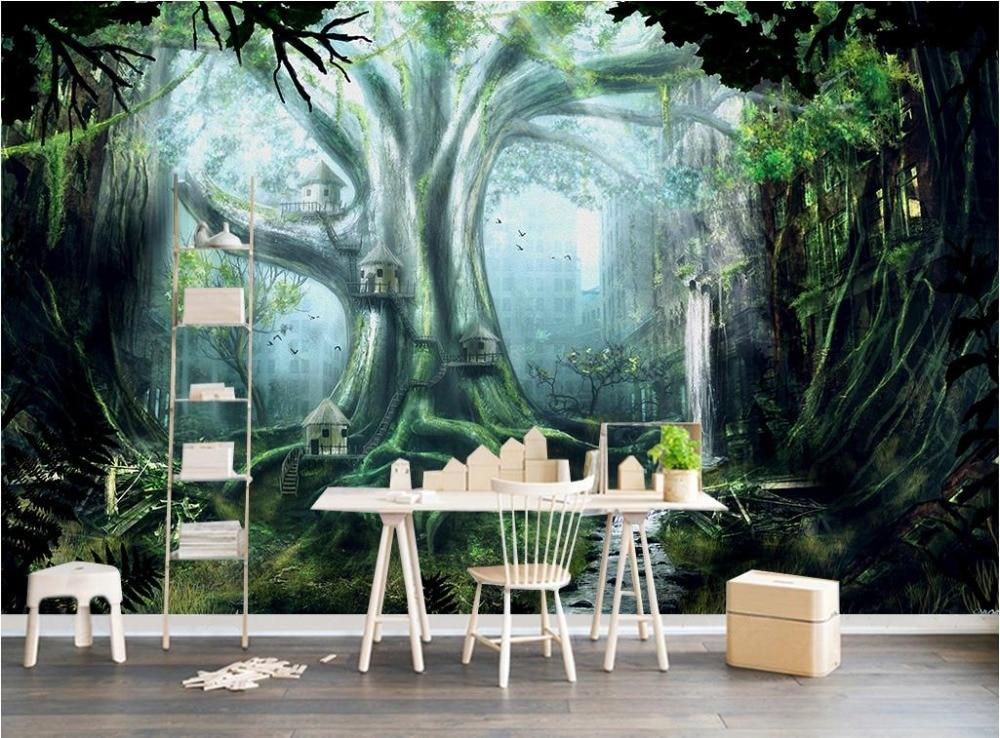 Custom 3d Nature Mural Wallpaper Nature Scenery For Walls: Custom 3d Mural Wall Scenery Wallpaper Green Forest 3D
