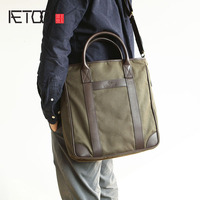 AETOO Men's leather with canvas handbags simple large capacity tot bag men's bag Europe and the European Section