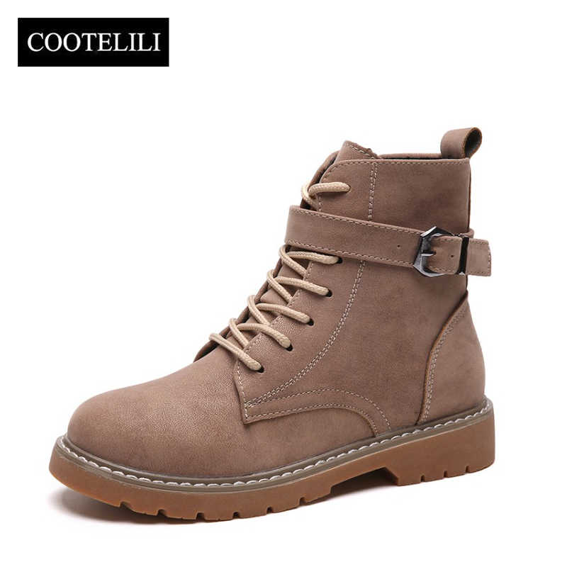 COOTELILI Sonbahar yarım çizmeler Kadınlar Için Toka rahat ayakkabılar Kadın Dantel up Faux Süet Deri Fermuar Botas Mujer Boyutu 35-39