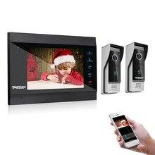 TMEZON 7 дюймов Беспроводной/WI-FI Smart видео-звонок Дверной домофон Системы с 1 ночь монитор для зрения + 2 непромокаемые дверная камера телефон