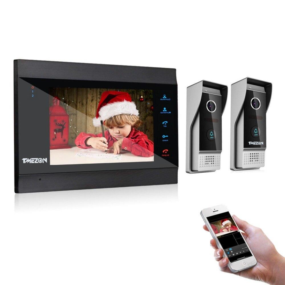 TMEZON 7 Pouces Sans Fil/WIFI Smart IP sonnette vidéo interphone avec 1 vision nocturne Moniteur + 2 Porte Étanche à la Pluie Téléphone Caméra
