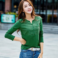 Chemise Femme Long Sleeve Women Blouses Cotton Plus Size Tops V Neck Solid Blouse Shirt Women