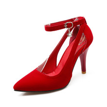 Shoes Woman 2017 New Arrival Wedding ladies high heel shoes Fashion Sweet Dress pointed toe Women Shoes Pumps Big size 28-54 E-1
