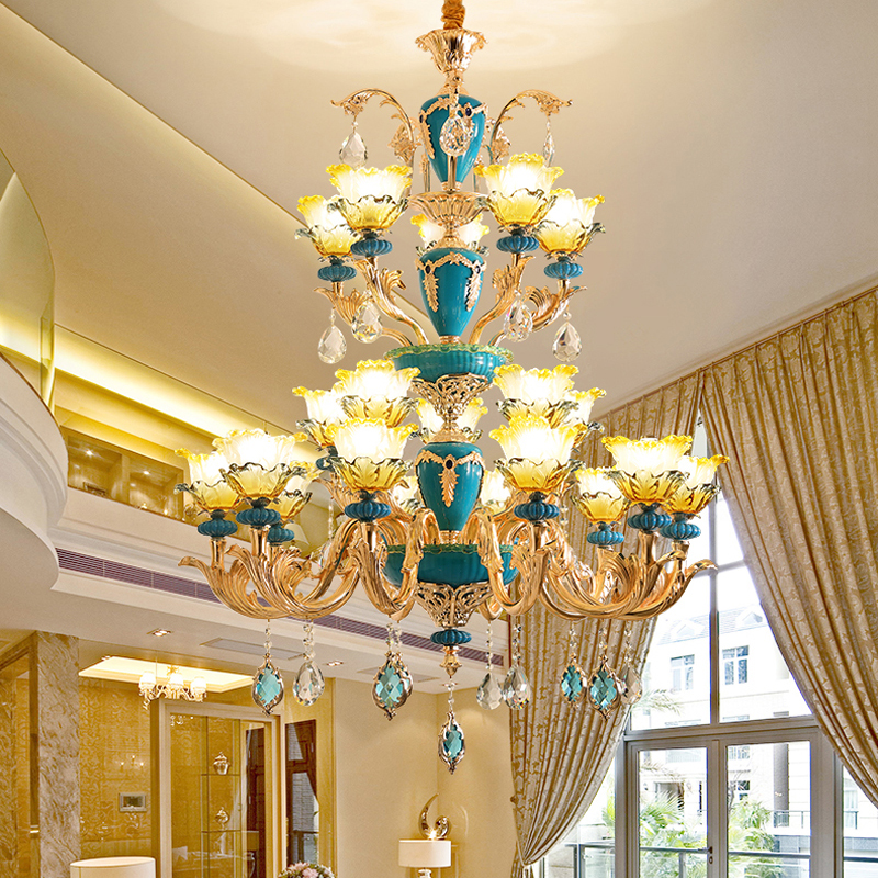 Large Gold Crystal Chandeliers Living Room Stair Hanging Lamps Luxury Hotel Lobby Crystal Lights Restaurant Bedroom Chandeliers kinston kst91869 butterfly w rhinestones pattern pu case w stand for iphone 6 white blue