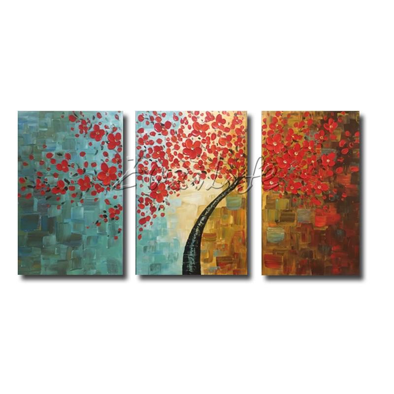 Canvas tree oljemålning 3 delar palettkniv 3D-textur röda blommor - Heminredning - Foto 5