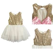 Summer Cute Girls Sleeveless Sequins Dress Party Dress 3-9T
