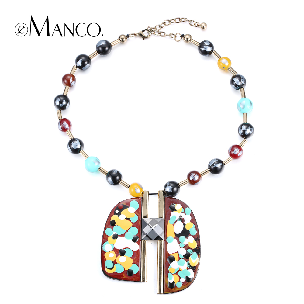 eManco Painted resin pendant necklace women acrylic bead copper choker necklaces trendy geometric pendants collier femme