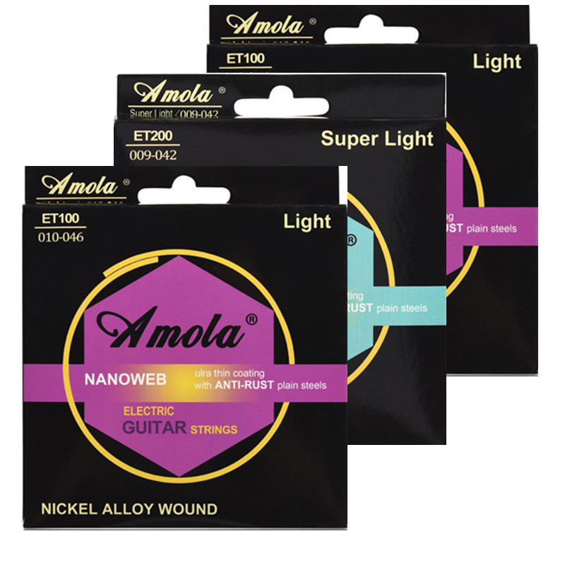 Guitar Strings Electric Amola ET100 ET200 Nanoweb Great Tone Long Life 010-046 009-042 Light  Ulra Thin Coating Steels 1 Sets amola electric guitar strings set 010 009 nickel alloy regular light gauge 009 042 010 046 electric guitar strings 6strings set