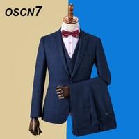 OSCN7 2019 Plaid Custom Made Suits Men Slim Fit Wedding Party Mens Tailor Made Suit Fashion 3 Piece Blazer Pants Vest DM 027