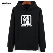 Aikooki Problem Solved Hooded Style Winter Hoodies Men Streetwear High Quality Mens Hoodies Sweatshirts GAME OVER Funy Clothes