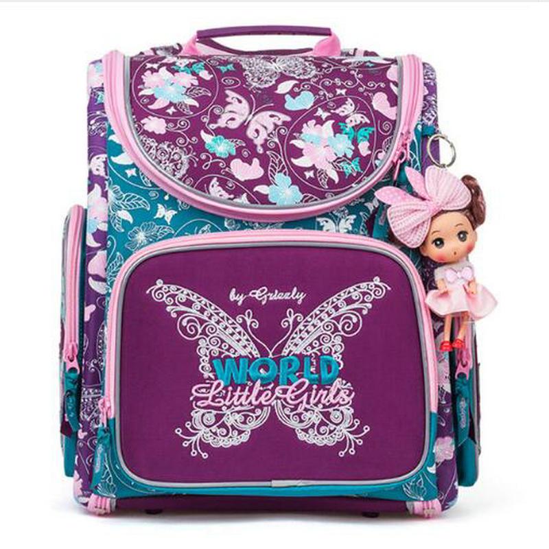2017 Russia New Children School Bags For Girls flower print Backpacks Large Capacity Foldable Orthopedic Kids