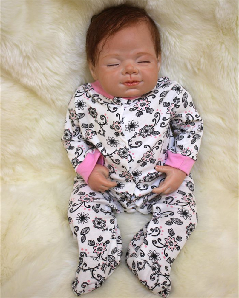50cm soft body silicone reborn baby doll toy lifelike baby reborn sleeping newborn boy doll kids birthday gift girl brinquedos 50cm Silicone reborn baby sleeping doll toy lifelike soft body newborn princess babies doll bebe reborn Kid bonecas birthday gif