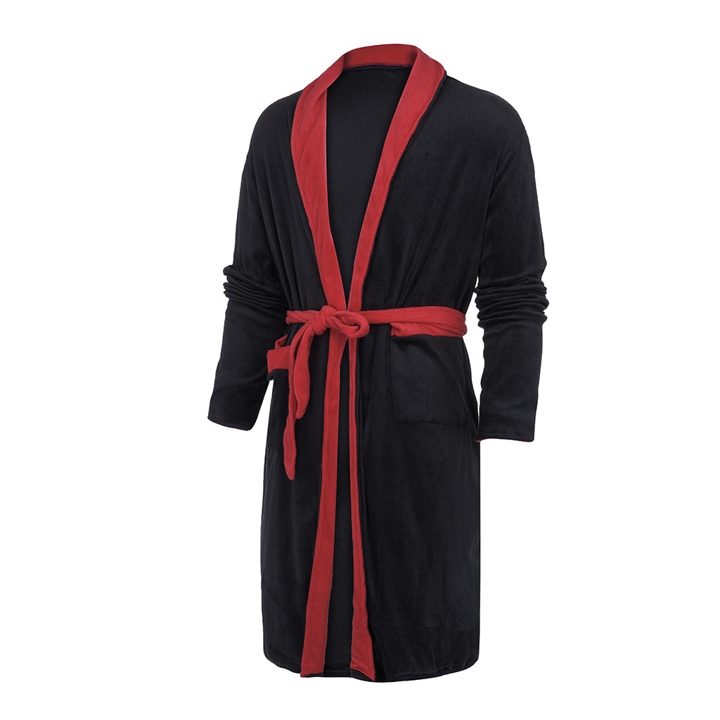 Men's Winter Plush Size 5XL Lengthened Thermal  Shawl Bathrobe Home Clothes Long Sleeved Patchwork Long Sleeved  Robe Coat D