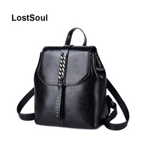 LostSoul Backpack Vintage Classic Oil Wax Cowhide leather backpack female chain rivet travel shoulder Bags mochila feminina sac