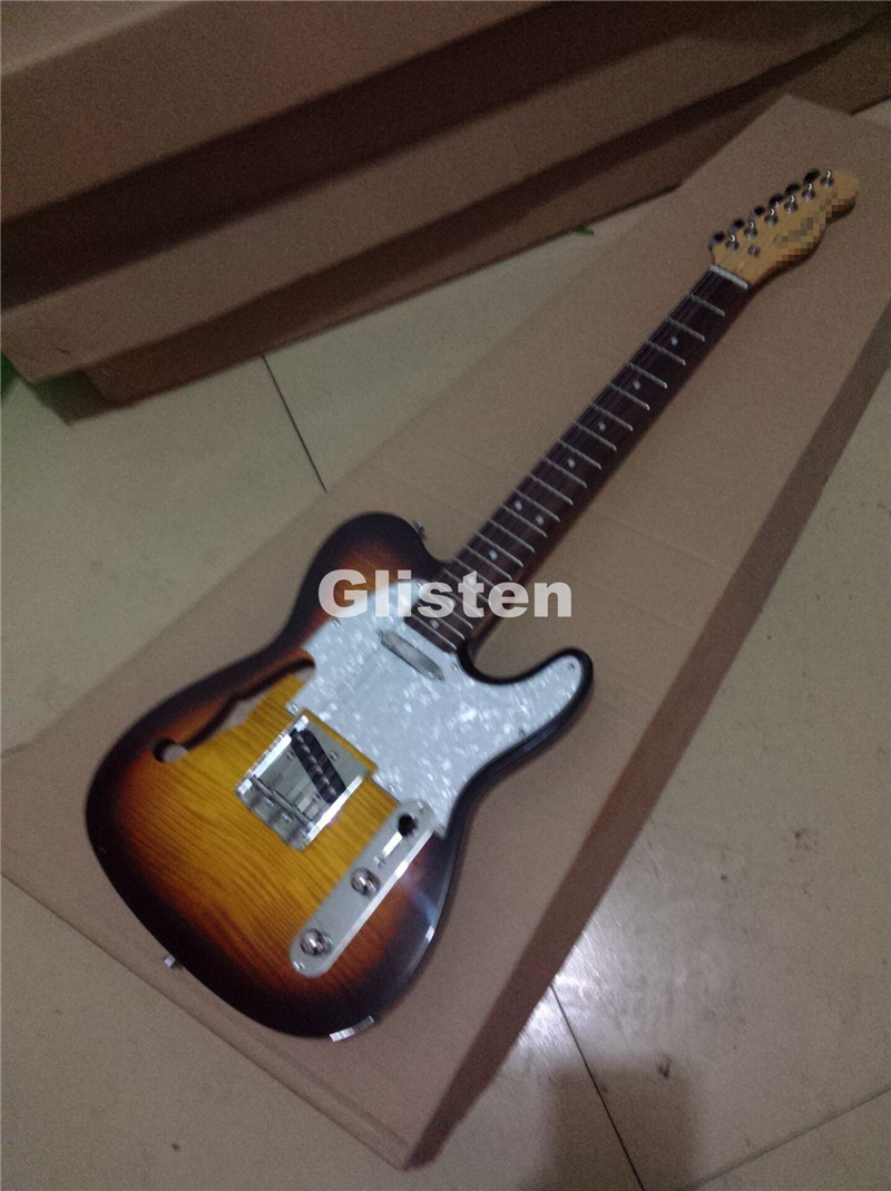 Tl guitarra elétrica captador de ss, aceitar customsize, corpo oco, custom shop