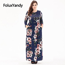 Long Sleeve Bohemian Dress Women O-neck Ankle-length Vestidos Plus Size Slim A-line Floral Print Long Dress SQQ1917