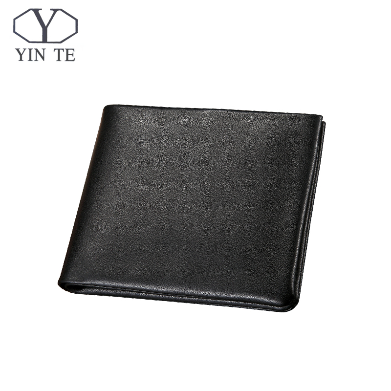 YINTE Men's Wallet Genuine Leather Business Casual Credit Card ID Holder Money Clip Black Wallet Two Layer Clip Portfolio T1095C never leather badge holder business card holder neck lanyards for id cards waterproof antimagnetic card sets school supplies