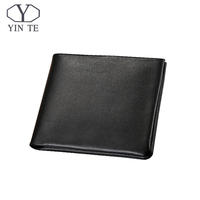 Men Genuine Leather Wallet Business Casual Credit Card ID Holder Money Clip Black Wallet Famous Brand