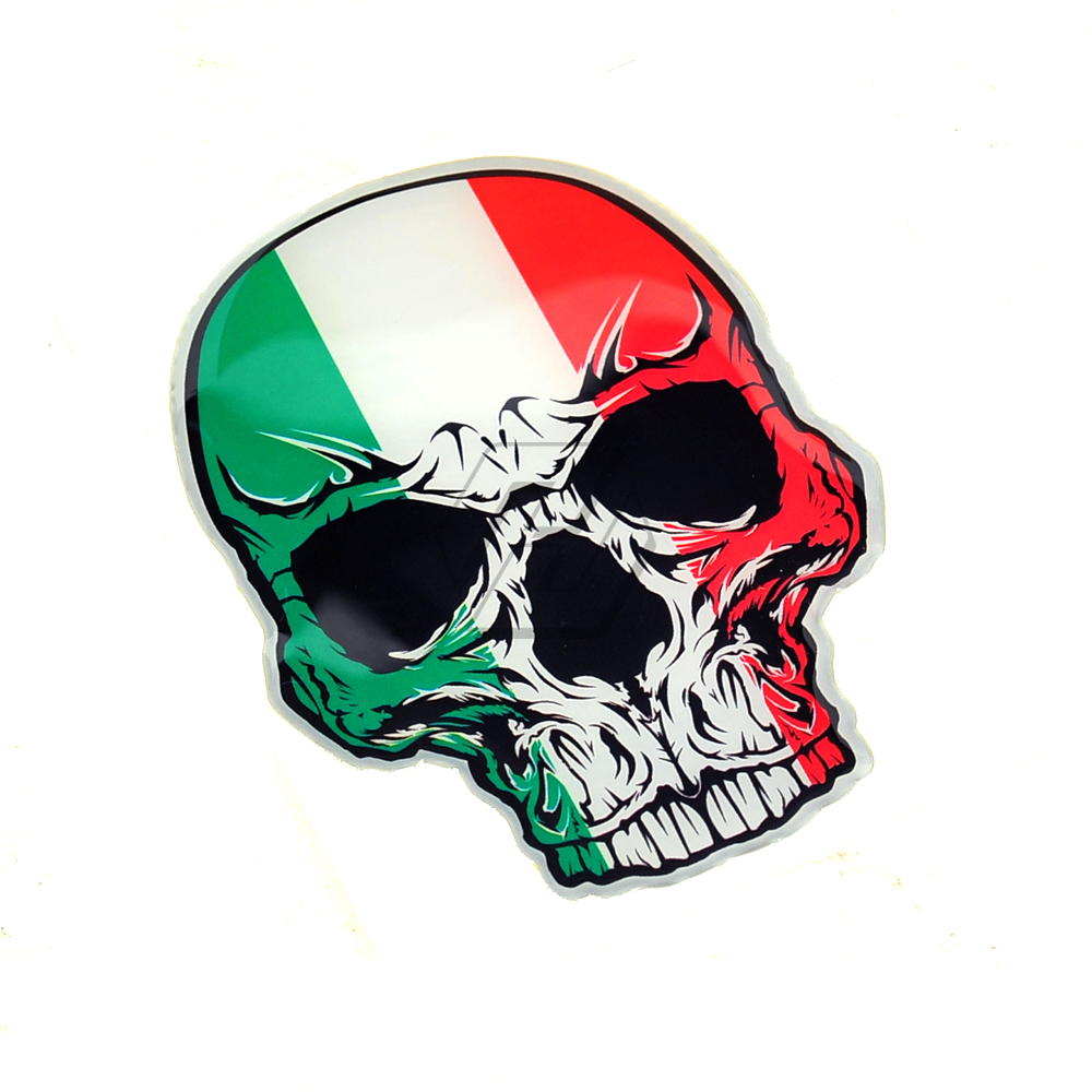 3D Motorcycle Skull Tank Stickers Italy Flag Helmet Decals Case For Aprilia KTM Ducati Yamaha AVG K1 K3 K4 K5 Vespa Decals