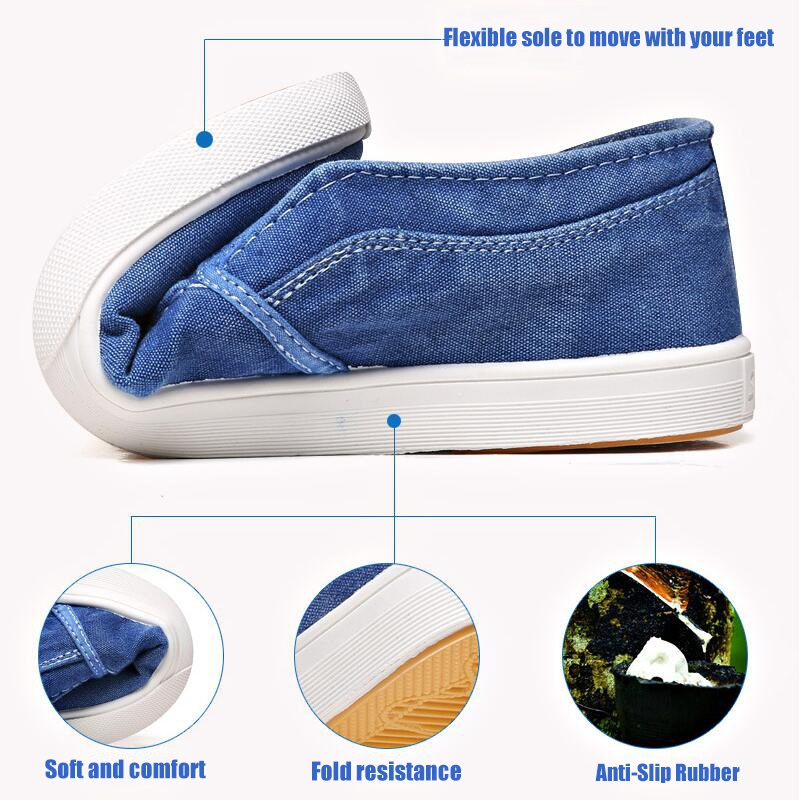Image 4 - Summer Canvas Shoes Men Sneakers Casual Flats Slip On Loafers Moccasins Male Shoes Adult Denim Breathable Gray Zapatos HombreMens Casual Shoes   -